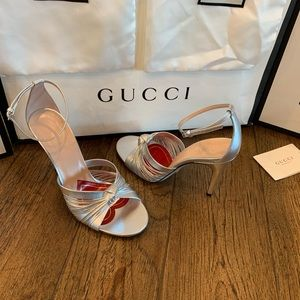 GUCCI metallic leather sandal/ heels